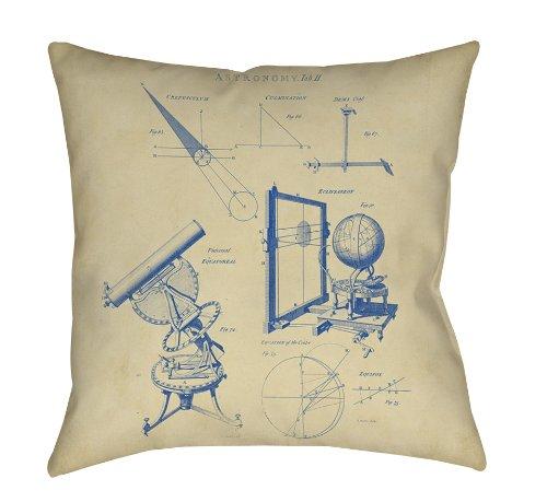 Thumbprintz Square Throw Pillow, 14-Inch, Vintage Astronomy Telescope