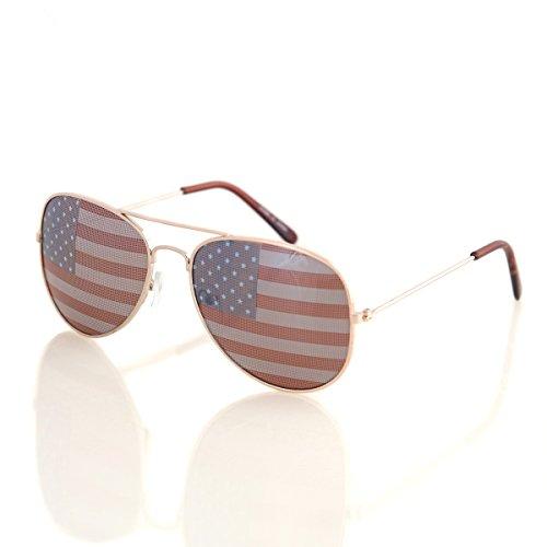 Shaderz USA America Aviator Sunglasses Gold Color Frame