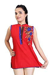 Carrel Imported Cotton Silk Fabric Sleevless Women Embroidery Short Kurti/Kurta