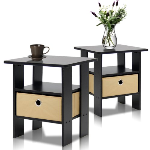 Best Price Furinno 2-11157EX End Table Bedroom Night Stand, Petite, Espresso, Set of 2