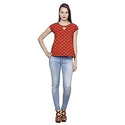 LEBE Women's Red Short Sleeve Top