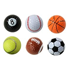 Buy Assorted Designed Golf Balls (Soccer, Basketball, Football, Tennis, Baseball, 8-Ball) - 6 balls in a box by Pro Active Sports