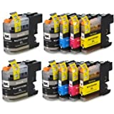 10 XL (2 FULL SETS + 2 BLACK) Compatible Printer Ink Cartridges for Brother DCP-J132W, J152W, J552DW, J752DW, J4110DW, MFC-J245, J470DW, J650DW, J870DW, J4410DW, J4510DW, J4610DW, J4710DW, J6520DW, J6720DW, J6920DW | Contains: 4 x Black, 2 x Cyan, 2 x Magenta, 2 x Yellow