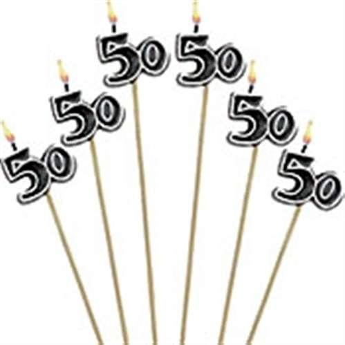 50th Birthday Candles - Cake Decoration Candle