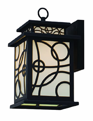 Park Madison Lighting PMO-975-31 1 Light Cast Aluminum Outdoor Wall Fixture with Frosted Glass Panels and Black Finish, H=11