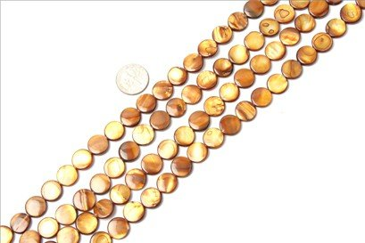11mm coin gemstone brown Sea shell beads strand 15