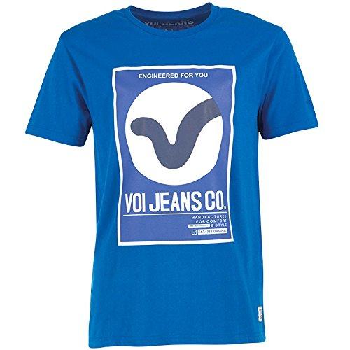 """Herren Voi Jeans Dunster T-Shirt Königsblau Jungs Männchen (L To Fit Chest 38-40"""" Euro Large)"""