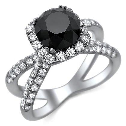 3.25Ct Black Round Diamond Engagement Ring 18K White Gold With A 1.90Ct Center Black Diamond And 1.35Ct Of Surrounding Diamonds
