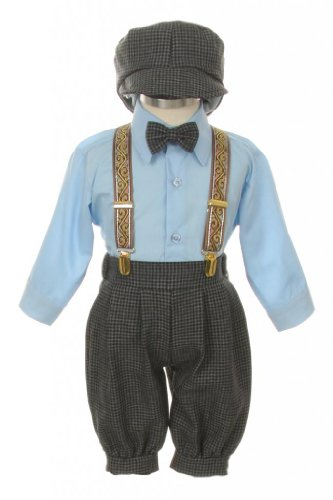 Vintage Dress Suit-Bowtie,Suspenders,Knickers Outfit Set for Baby Boys & Toddler, Houndstooth-Blue-6 Months