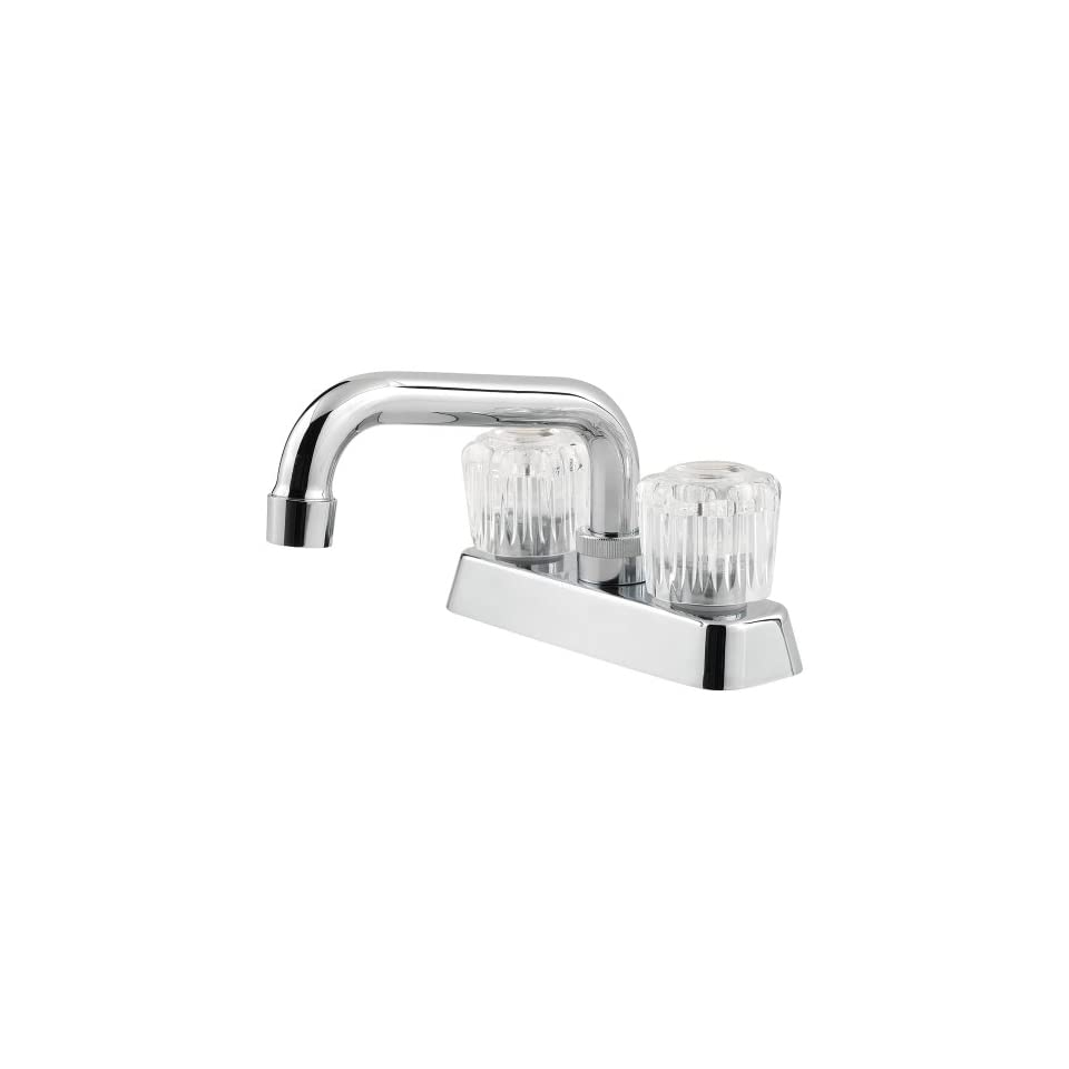 Pfister 171 1100 Pfirst Series 4 Inch 2 Hole 2 Acrylic Handle Laundry Faucet, Polished Chrome