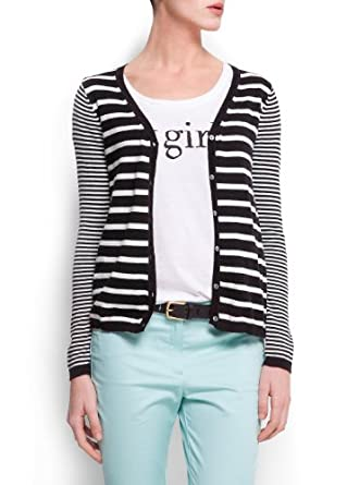 Mango Women's Striped Cardigan, Black, M