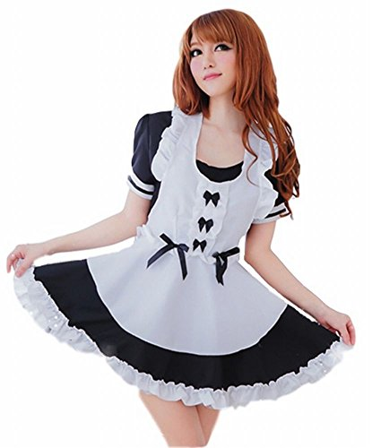 POJ Costume of Japanese Maid Cafe [ M Size Black for Women with Apron ] Akiba Cosplay