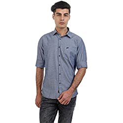 Sting Blue Solid with Neps Pattern Slim Fit Full Sleeve Cotton Casual Shirt