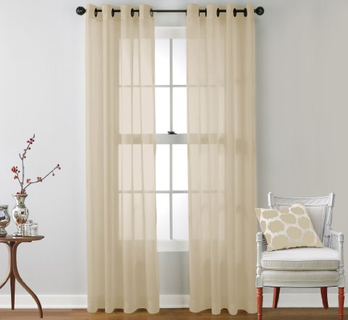 Hlc Me 2 Piece Sheer Window Curtain Grommet Panels Beige