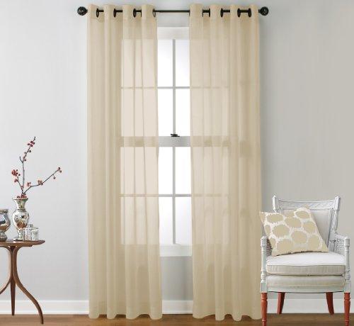 Hlc me 2 piece sheer window curtain grommet panels beige 84 quot inch