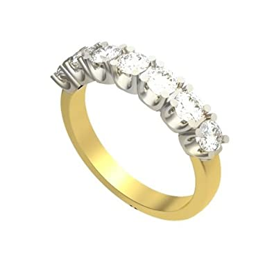 0.35ct G/VS1 Diamond Half Eternity Ring for Women with Round Brilliant cut diamonds in 18ct White Gold & Yellow Gold