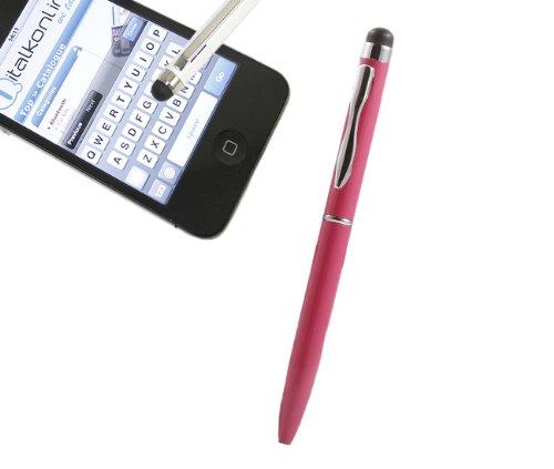 iTALKonline ROSA MINI IDUO Captive Touch-Tip-Stift mit Rubber Tip mit Roller Kugelschreiber für Nokia Lumia 610