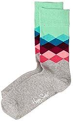 Happy Socks Men's Calf Socks (8904214909390_FAD01-9000_Medium_Grey)
