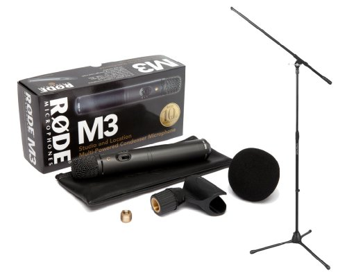 Rode M3 Versatile Multi-Powered Condenser Microphone & On Stage Stands 7701B Tripod Boom Microphone Stand