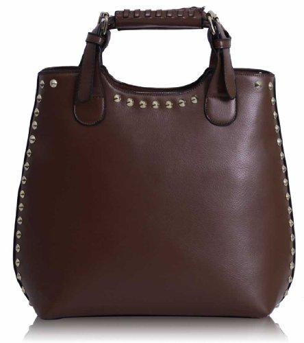 KCMODE Ladies Studded Fashion Bag Womens Top Handle Handbag - satchels