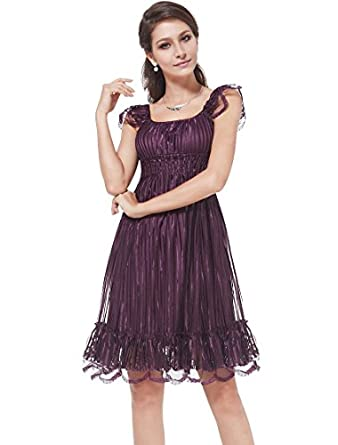 HE02713PP06, Purple, 4US, Ever Pretty Wedding Guest Dresses Knee Length 02713