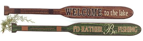 Set of 2 Rustic 30″ Decorative Oars – Welcome to the Lake & I'd Rather Be Fishing – Decorative Signs