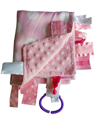 """Sensory Baby Tag Blanket, pink & white polka dot, 14"""" x 18"""". For entertainment, security, comfort. Also used for special needs, autism, therapy. Ribbons sewn shut into tabs for added security. Made in USA by Baby Jack Blankets"""
