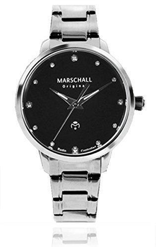 Marschall Original Damen-Funkarmbanduhr analog Quarz Clasica Negra