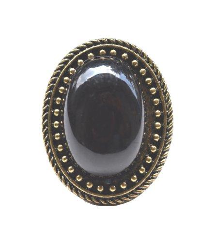 Prasiddh sands European retro resizable ring oval imitation black gemstone (beige\/sand\/tan)