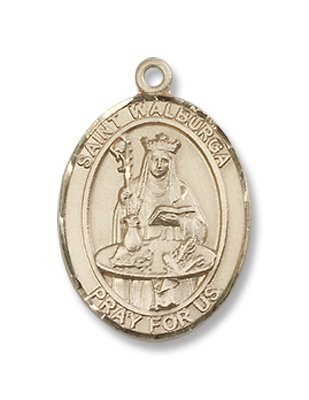 Gold Filled St. Walburga Medal Pendant Charm with 18
