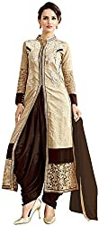 Awesome Women's Cotton Unstitched Dress Material (Beige and Brown)