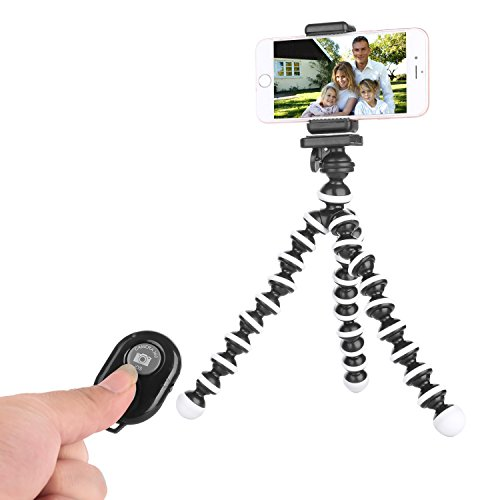 Tripod for iPhone - Cell Phone Tripod - iPhone Tripod with Remote - Camera Tripod Compatible with Any Smartphone Flexible Tripod Stand(Black White) (Tri-Pod) (Tri Pod Feet compare prices)