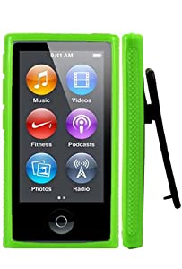 HHI Rubber Quick Clip Case for iPod Nano 7th Generation - Green (Package include a HandHelditems Sketch Stylus Pen)