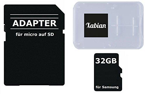 32GB MicroSD SDHC Speicherkarte für Samsung Smartphones und Tablets mit SD Adapter und Memorycard Box