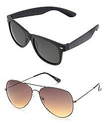 MagJons Black Wayfarer And Brown Aviator Sunglasses Set Of 2 (With Box)