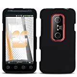 Black Rubberized Hard Phone Cover for HTC EVO 3D Protector Case