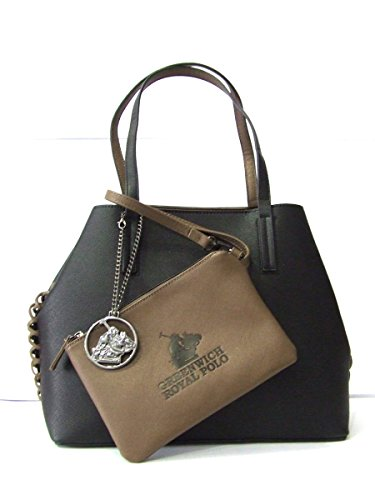 GREENWICH ROYAL POLO - BORSA DONNA IN SAFFIANO COL.NERO/BEIGE - art.PG16W-135-04 A
