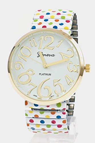 Glitz Finery Round Face Polka Dot Stretch Band Watch (Multi)
