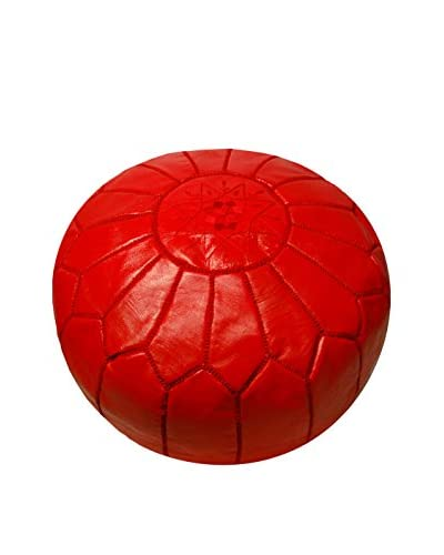 Moroccan Prestige Handmade Moroccan Leather Pouf, Red