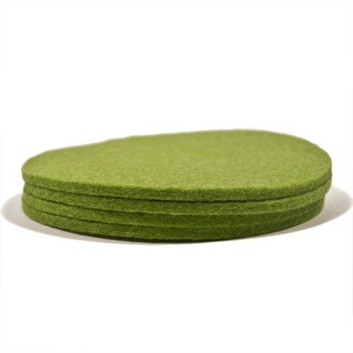4 Pack Designer Felt Coasters Apple Green