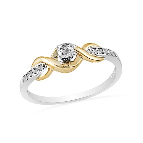 10KT Two Tone Round Diamond Twisted Promise Ring (1/6 CTTW)