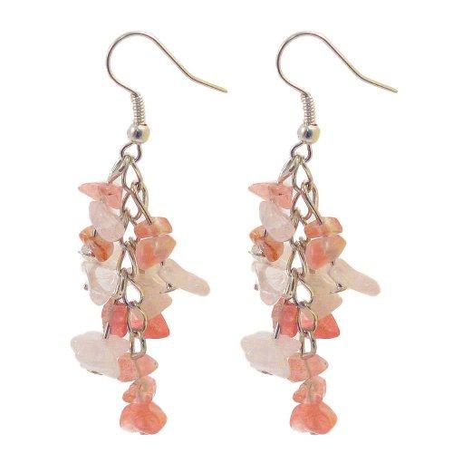 Chip Earrings - Rose Quartz