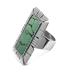 Carolyn Pollack Sterling Silver Green Turquoise Rectangle Ring