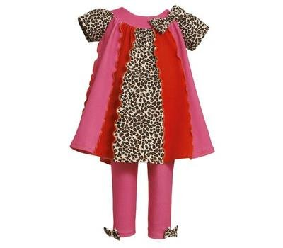 Bonnie Jean Pink Animal Print Stripe Fall Outfit Toddler Girls 3T front-1012913
