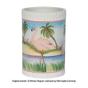 South beach tropical flamingo bathroom decor ceramic tumbler cup flamingo bath for Flamingo bathroom accessories set
