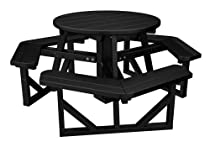"Hot Sale POLYWOOD PH36BL Park 36"" Round Picnic Table, Black"