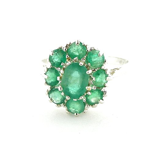 9ct White Gold Ladies Large Emerald Cluster Ring - Size O - Free Delivery - Finger Sizes L to Z Available