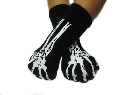 Skeleton Black Fingerless Glove Arm Warmer