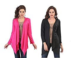Bfly Combo of Black & Pink Long Shrugs