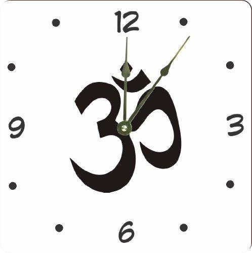 "Rikki Knighttm Yogi Om White On Black Color Design 8"" Wood Framed Art Wall Clocks Desk Clocks front-561004"